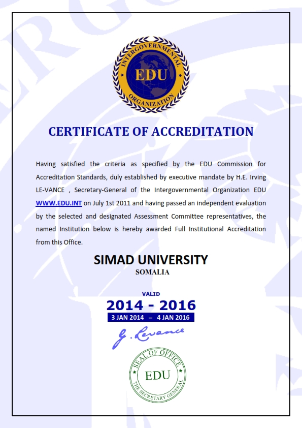 SIMAD UNIVERSITY is awarded Full Institutional Accreditation by EDU